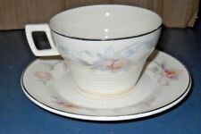 VINTAGE TRIUMPH AMERICAN LIMOGES CHINA SILVER MOON CUP SAUCER SEBRING OHIO