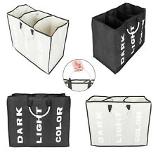 Laundry Basket 3 Sections Large Dirty Clothes Hamper Foldable Bag Bin Organizer