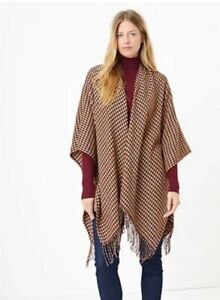 M&S ladies GLITTERY  Houndstooth knit Burgundy Cape Wrap RRP £35 BNWT