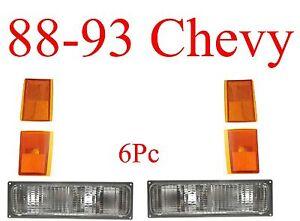 88 93 Chevy 6Pc Parking & Side Amber Light Set, Truck Blazer Suburban