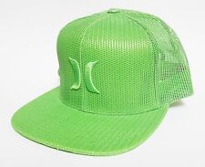 HURLEY MESHER TRUCKER Snapback Hat Lime Green OSFA NEW All-Mesh Skate Surf Cap