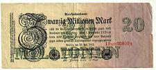 ALEMANIA (WEIMAR) 20 MILLIONEN MARK 1923 (MBC) ROTURA EN MARGEN DERECHO (P-97b)
