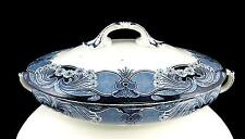 "WEDGWOOD & CO ART NOUVEA GRANADA BLUE BORDER OVAL 12 1/2"" COVERED VEGETABLE BOWL"