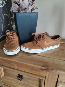 Nike Stefan Janoski Brown Leather Trainers Size Uk 10 See Description