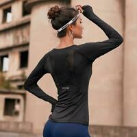 Women Stitching Mesh Long Sleeve Quick-Drying T-shirt Slim Workout Yoga Tops DD
