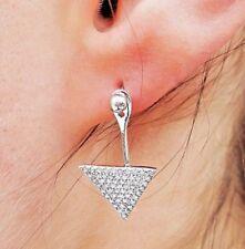Triangle Diamond Stud Earrings in 18k White Gold - 50% OFF