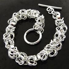 Bracelet Bangle Real 925 Sterling Silver S/F Ladies Tbar Filigree Link Design