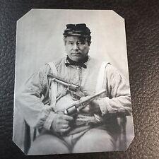 civil war Military Soldier 2 Pistols tintype C729RP