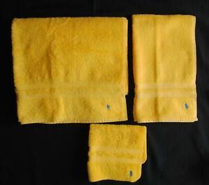 3 Pc Ralph Lauren Polo Pony Vtg Bath Hand Towel Facecloth Bright Yellow Made USA