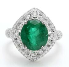 6.65 Carat Natural Emerald and Diamonds in 14K Solid White Gold Women's Ring