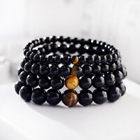Men Women Natural Onyx Tiger Eyes Bracelets Meditation Yoga Bracelet 6 8 10 12mm
