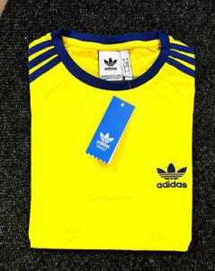 Adidas Originals Men's Trefoil California Tees Crew Neck T Shirt Yellow Navy NEW