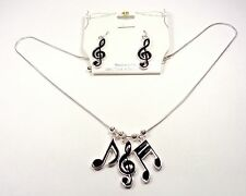 SILVER TONE RHODIUM MUSIC NOTES NECKLACE AND EARRING SET