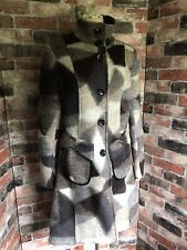 Made In Italy Abstract Patterened Wool Mix Long Coat Size 12 Brown Grey