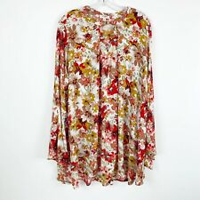 Umgee Tunic Floral Blouse Woman Size Large Long Bell Sleeves