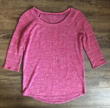 Arizona Jean Co Women's Junior's Top 3/4 Sleeve Lace Detail Medium Pink Knit