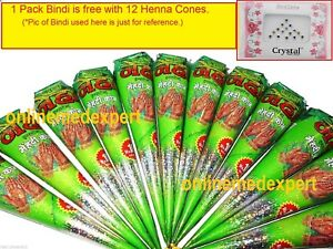 12 Neha Mehndi Cones Natural Herbal Henna Temporary Body Art + 1Pkt Bindi FREE