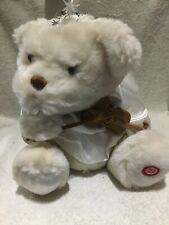 Vtg Avon Angel Bear Stuffed White 12� Fiber Optic Wings -Violin 🎻 Silent Night