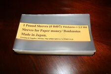 "New **2 lb. Sleeves 4"" x 7"" for Paper money Thick~=2.5 mil (>>530 Sleeves).."