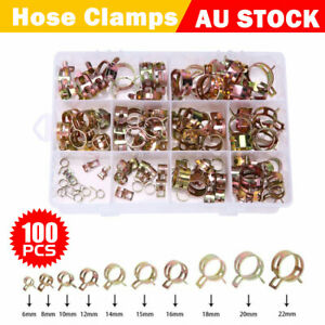 100pcs Stainless Steel Clip Hose Clamps 6-22mm Adjustable Range Worm Gear Pipe