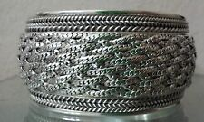 "Large Heavy .925 Sterling Silver 1.5 ""in Wide Cuff Bracelet- Free Shipping !"