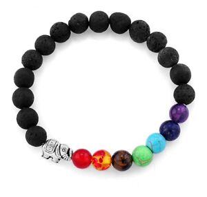 Elephant Charm Rainbow Chakra Healing Yoga 6MM Bead Stretch Bracelet Keepsake