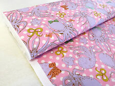 Cosmo pink OCTOPUS POLKA DOT 100% Cotton fabric quilting pastel kawaii cute 1m