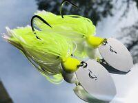 2 Custom Bass Bladed-Vibrating-Bait-Swim Jigs Color-(White/Chartreuse) 1/2 oz