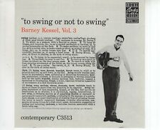 CD BARNEY KESSEL 	VOL 3 to swing or not to swing	EX+	 (B3598)