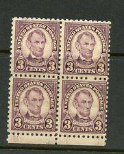 U.S. #584 (Us524) Block of 4, Lincoln, M (2) Mnh, (2) Mlh, Fvf, Cv$175.00