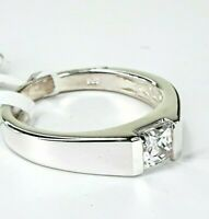 Sterling Silver 925 Swarovski Zirconia Square Solitaire Band Ring Size Q