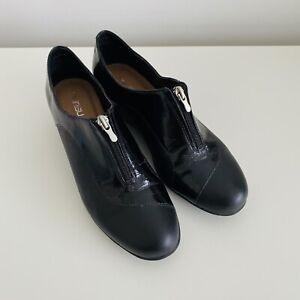 Zensu Black L Leather Wedged Ankle Boots Size EU 38 AU 7-7.5
