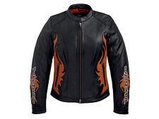 Harley Davidson Women's Wild Flames Black Orange Leather Jacket 97081-12VW L