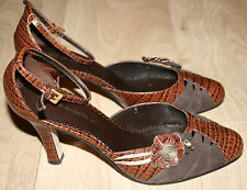 "Marks & Spencer Brown Leather Mock Croc Shoes UK4/EU37 3"" High-Heel Wider-Fit"