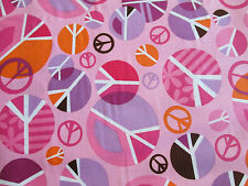 Peace Symbols Flowers Colors Pink Cotton Fabric BTHY