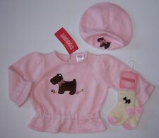 NWT Gymboree Girl Detective 3-6 Month Pink Scottie Dog Sweater Beret Hat & Socks
