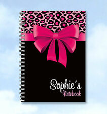 Personalised Printed A6 Notebook Pink Bow