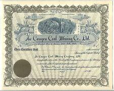 Canyon Coal Mining Company Ltd. Stock Certificate Idaho Falls Idaho
