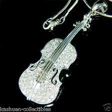 BIG w Swarovski Crystal VIOLIN VIOLA CELLO Fiddle MUSIC Musical Pendant Necklace