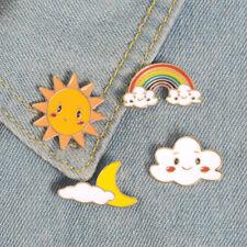 AU_ ALS_ Cartoon Sun Moon Cloud Rainbow Enamel Brooch Pin Bag Collar Lapel Badge