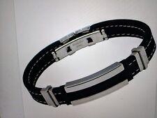 Fashion Mens Black Silver Stainless Steel Rubber Bracelet Bangle B84U New Sale!