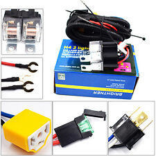 2-Headlight H4 Headlamp Light Bulb Ceramic Socket Plugs Relay Wiring Harness FUN