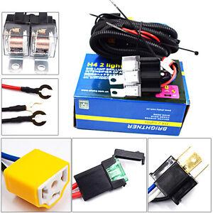 2-Headlight H4 Headlamp Light Bulb Ceramic Socket Plugs Relay Wiring Harness FUN