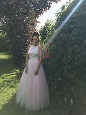 White/Pink Prom Dress (size 8)