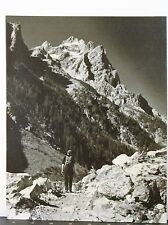 Original Vintage Photograph of boy with back pack hiking in Mountains