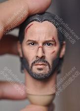 """1/6 Scale Keanu Reeves John Wick 2.0 Head Sculpt battle damaged fit 12"""" body"""