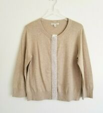 Banana Republic NWT $79 Size XL Beige Beaded Cardigan Sweater White Beads Tan