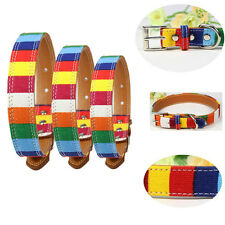 Canvas Leather Rainbow Colorful Dog Pet Cat Puppy Collar Adjustable Neck Buckle