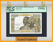 TT PK 703Kl ND WEST AFRICAN STATES 1000 FRANCS PCGS 67 PPQ SUPERB NONE FINER!