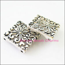 3Pcs Tibetan Silver 2-2 Hole Square Spacer Bar Beads Connectors Charms 17.5x18mm